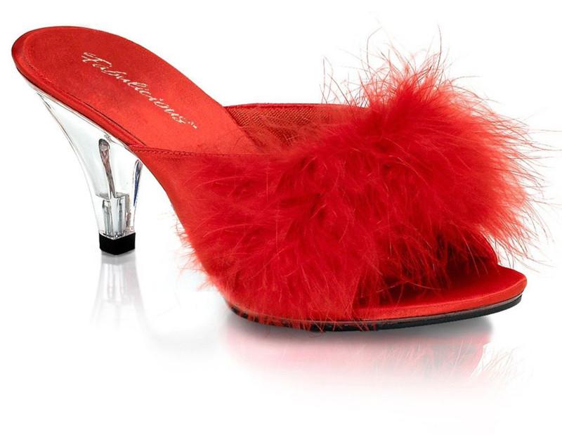 Red marabou slipper